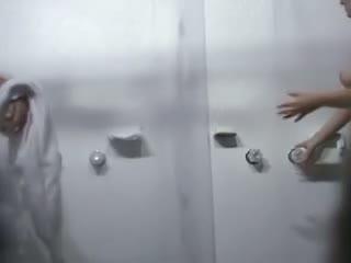 Voyeur shower spy cam got two mature chicks showering together