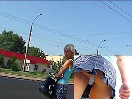 Denim mini petticoat upskirt episode