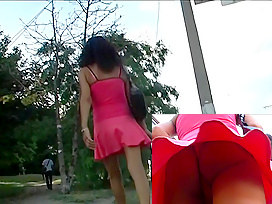 Excellent red costume upskirt