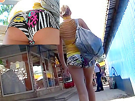 Bright hawt shorts on constricted booty