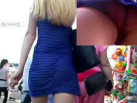 Lengthy-haired sweetheart in street upskirt movie scene