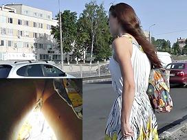 Hot yellow summer costume upskirt vid
