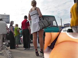 Linen summer mini suit upskirt