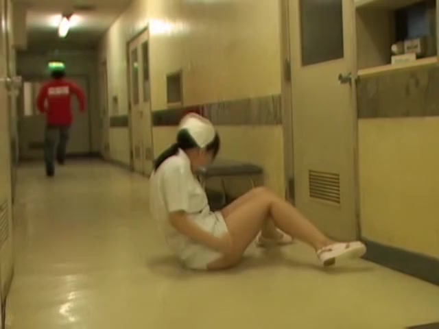 White panty of cute nurse is seen on Japanese sharking video
