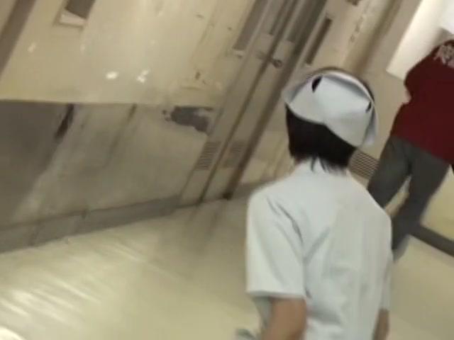 Asian nurse resisting against rough sharking on cam