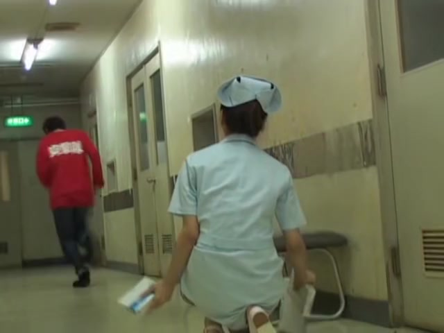 Cheated Japanese nurse under panty sharking