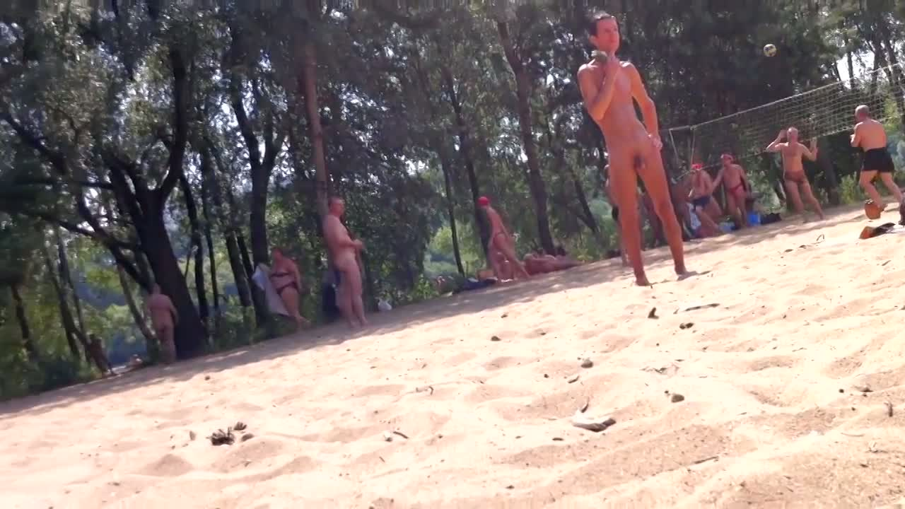 Naked valley at the nudist beach with girls and audlts
