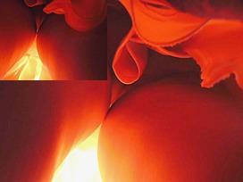 Fiery-red upskirt closeup clip
