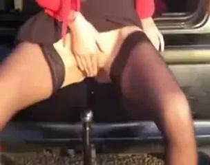 Horny slut fucks a car hook in public voyeur video