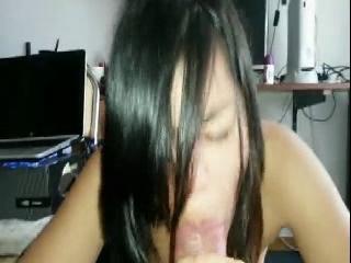 Hot slut Lucia sucks on a dong in voyeur sex video
