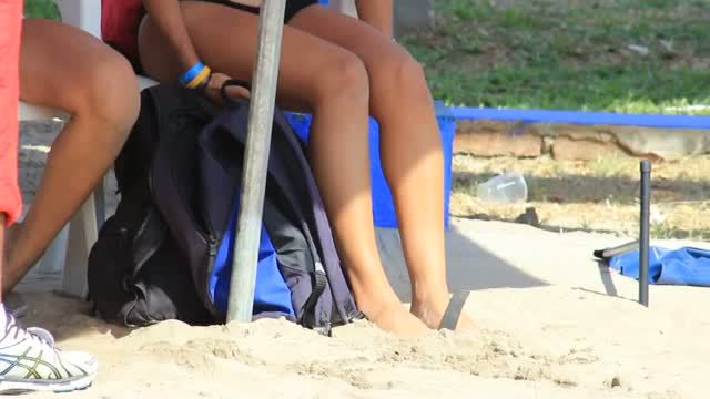 Legal Age Teenagers Beach Volleyball Players candid voyeur