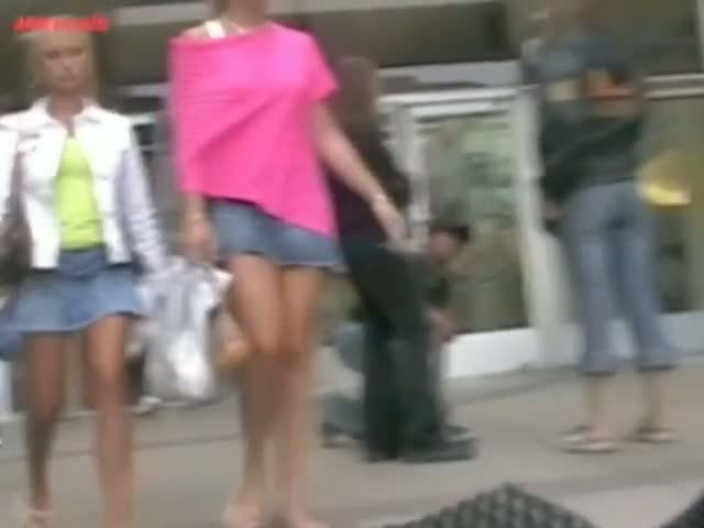 Free voyeur upskirt public show with two hot chicks