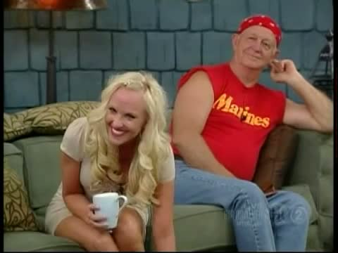 Hot blonde's up skirt shots during a talk show on TV