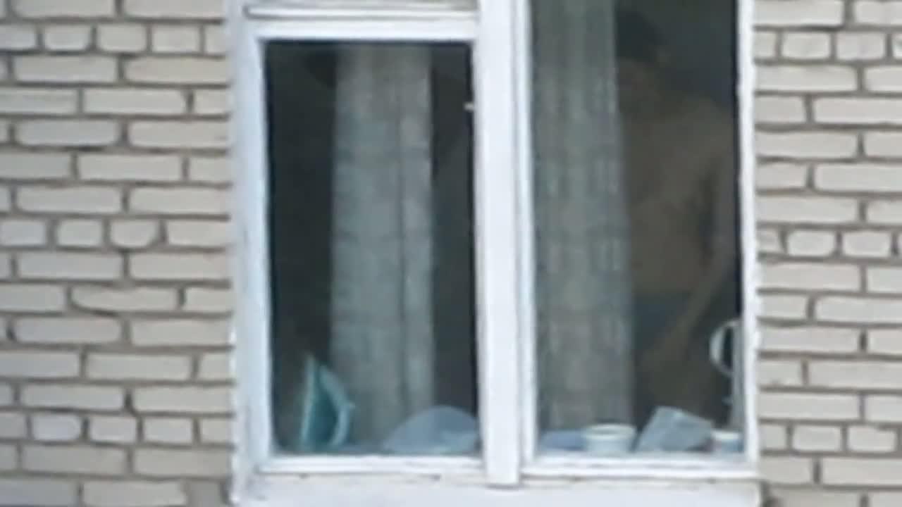 Hot brunette chick voyeur window peek