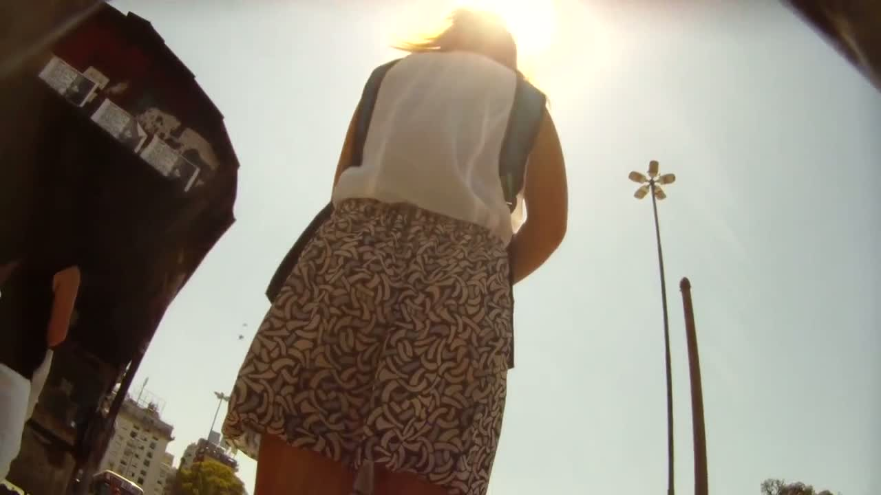 Wind blowing up skirt with sexy ass babe on the street