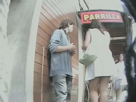 Voyeur professional taking short glimpses at bare upskirt asses with his cam recorder