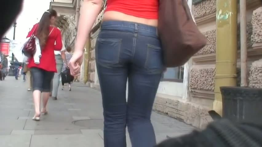 Tight street jeans blonde gets followed by a voyeur