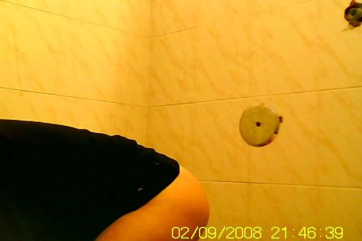 Amateur flashed bushy pussy while pissing on toilet