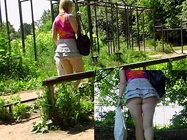 Bow over for arse upskirt