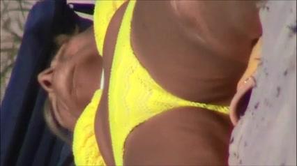 candid mature see thru bikini fat cameltoe crotch shot 173