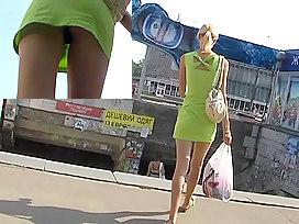 Sexy green mini suit upskirt